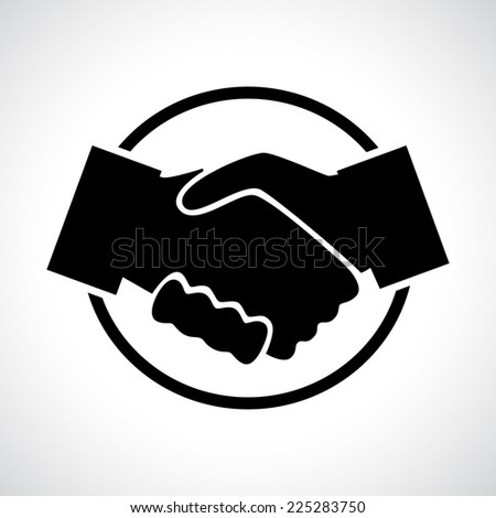 Handshake. Black flat icon in a circle. Business, agreement, meeting and congratulating concept. - stock photo
