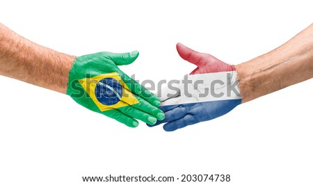 Handshake Brazil and Netherlands - stock photo