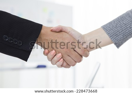 Handshake business man and business woman - stock photo