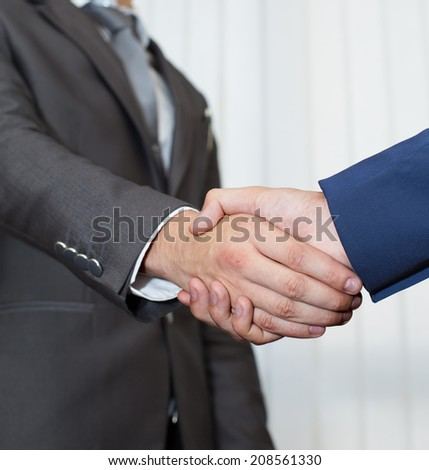 Handshake. Business people, office background, young hands
