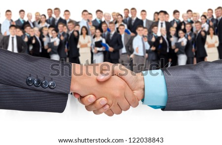 handshake businessmen, over big group of businesspeople background, hand shake concept of global international business collaboration, human resources, communication