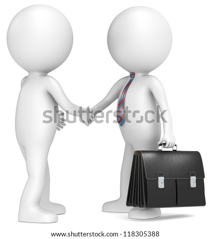 Handshake. 3D little human character shaking hand with Businessman. Black Briefcase. Red and blue tie.People series. - stock photo