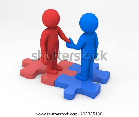Handshake 3d people
