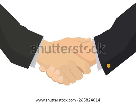 Handshake flat illustration for business and finance isolated on white - stock photo