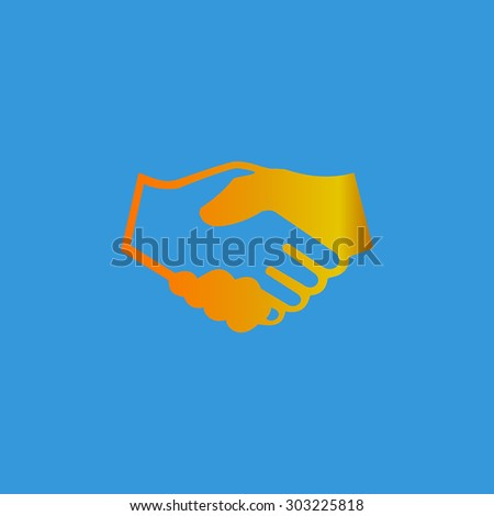 Handshake for business and finance. Simple flat icon on blue background