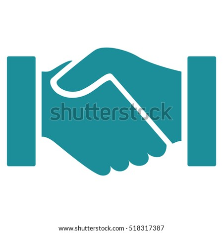 Handshake glyph icon. Flat soft blue symbol. Pictogram is isolated on a white background. Designed for web and software interfaces.