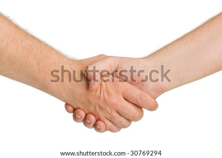 Handshake hands isolated on white background