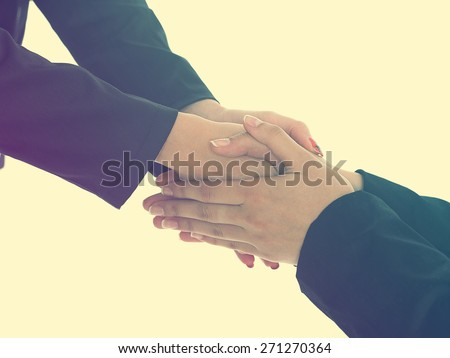 Handshake Handshaking isolate on white - stock photo