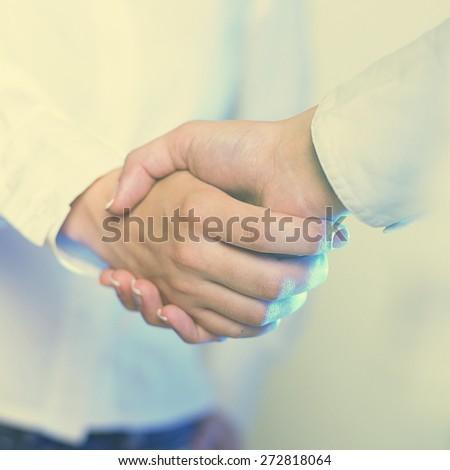 Handshake Handshaking isolate on white - stock photo