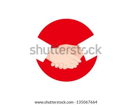 Handshake Hinomaru - stock photo