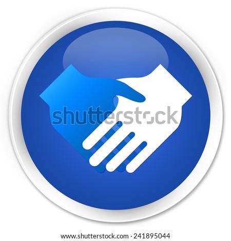 Handshake icon blue glossy round button - stock photo