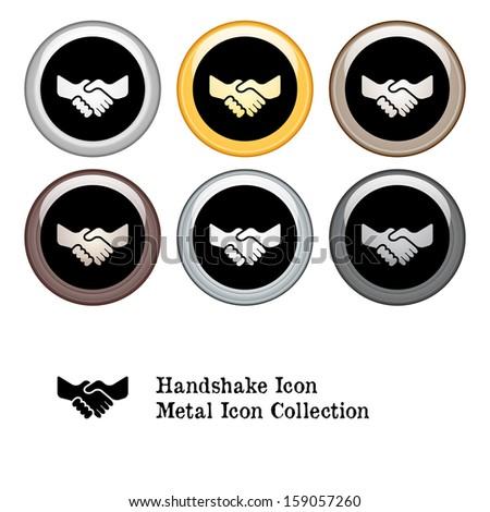 Handshake Icon Metal Icon Set. Raster version. - stock photo