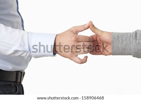 Handshake in the Office on White Background