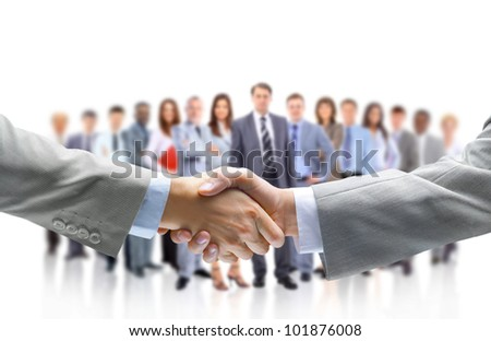 handshake isolated abd business people - stock photo