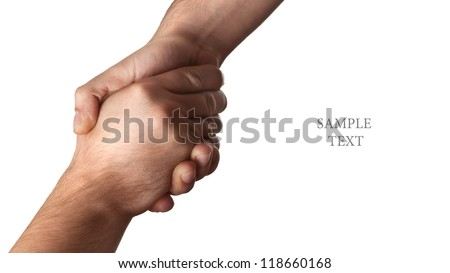 handshake isolated on white background High resolution - stock photo