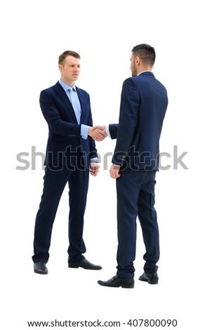 handshake isolated over white background - stock photo