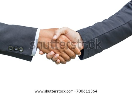 Handshake. It is a collective agreement to work. isoleted, clipping path.