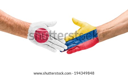 Handshake Japan and Colombia