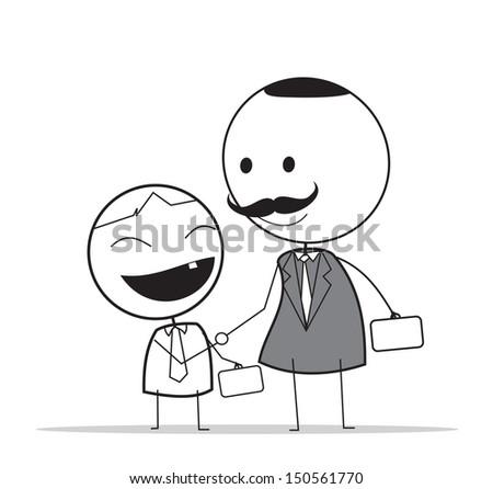 handshake junior businessman And senior  - stock photo