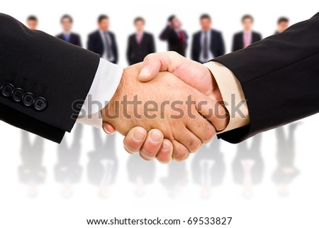 handshake of business partner after the deal - stock photo