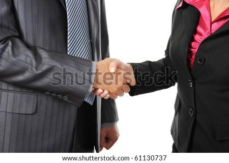 Handshake of business partners. Isolated on white - stock photo