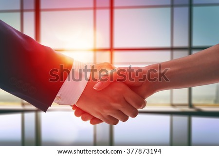 handshake of businessmen. the concept of successful negotiations. - stock photo