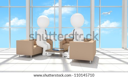 Handshake of two businessmen after signing the contract. Office interior - stock photo