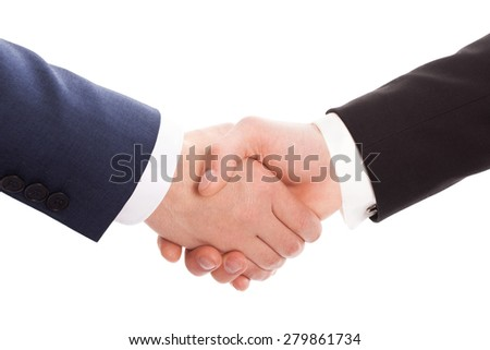 Handshake of two businessmen isolated on a white