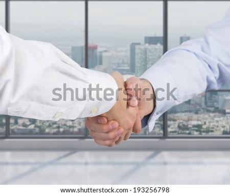 Handshake, office room.  - stock photo