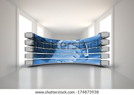 Handshake on abstract screen against digitally generated room - stock photo