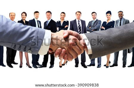 handshake on the background group of business people - stock photo