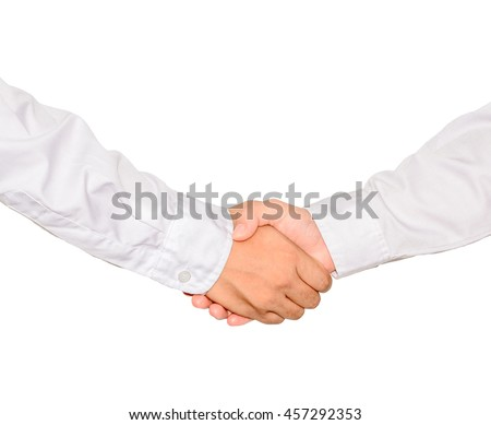 handshake on white isolate with clipping path,Business concept.
