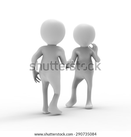 Handshake, person ,3d