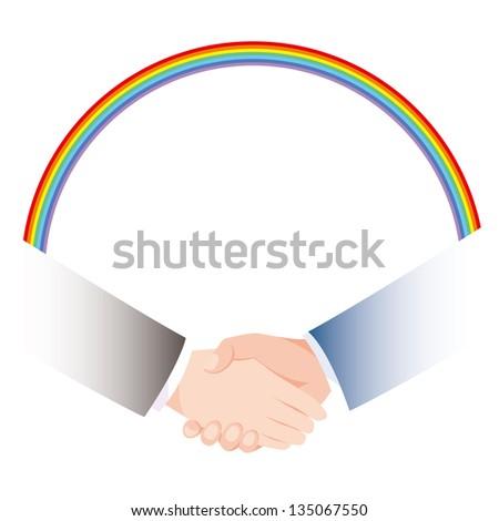 Handshake rainbow - stock photo