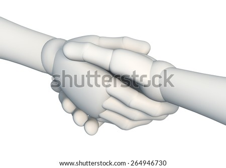 Handshake, shaking hands, making a contract, rendering, illustration, object isolated on white background - stock photo