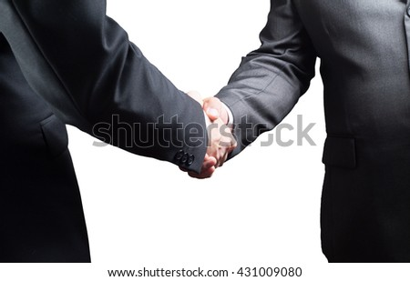 Handshake, Successful businessmen shaking hands, isolated on white background - stock photo