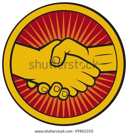 handshake symbol (emblem, symbol, sign) - stock photo