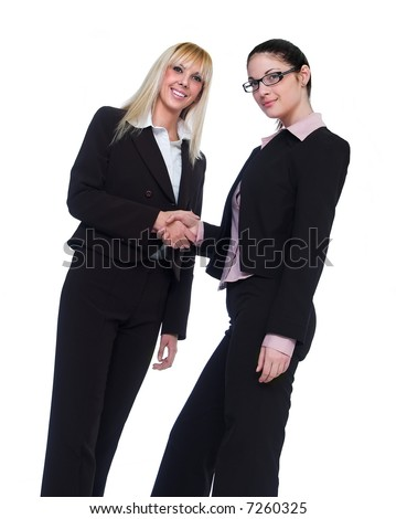 Handshake, two secretary, isolated on white background