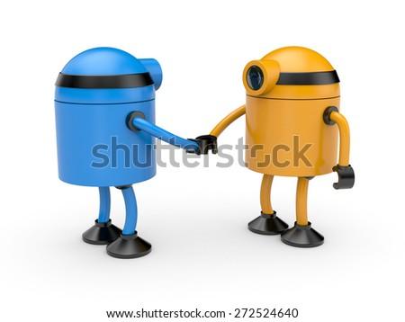 Handshake. Union of two robots - stock photo
