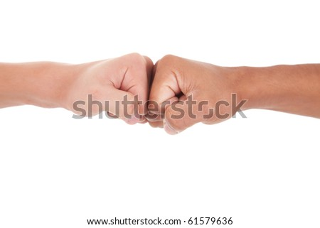 handshake with fist, isolated on white, studio shot - stock photo