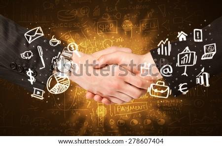 Handshake with glowing background - stock photo