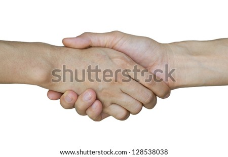 Handshakes on white background (with clipping path)