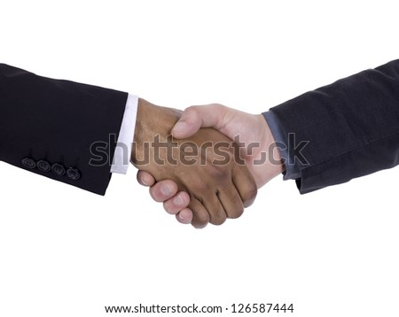 Handshaking businesspeople to show their agreement - stock photo