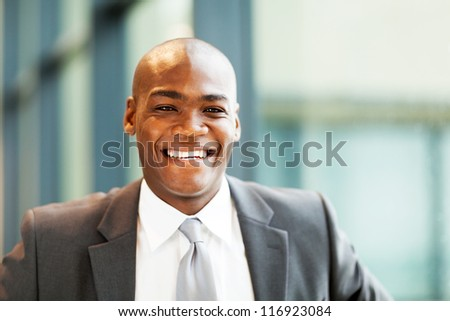 handsome african american businessman closeup portrait - stock photo
