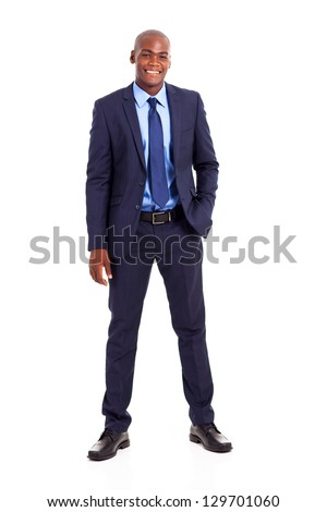 handsome african american businessman in suit isolated on white - stock photo