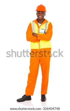 handsome african american construction worker isolated on white background - stock photo