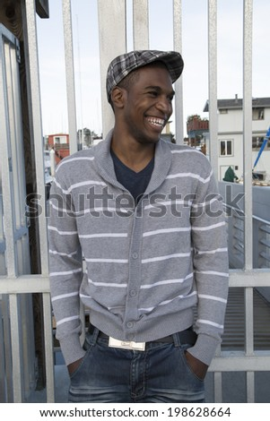 Handsome African American male model laughing portrait