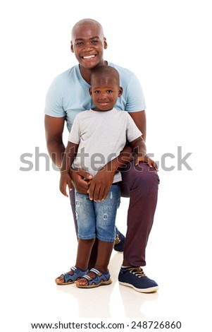 handsome african american man and little boy on white background
