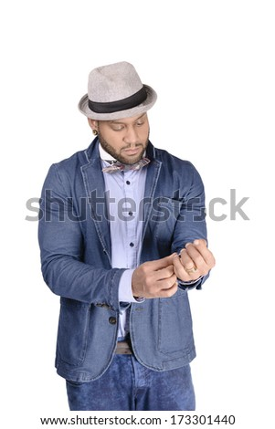 Handsome African American young man in hat dressing up with elegance. Copy space - stock photo