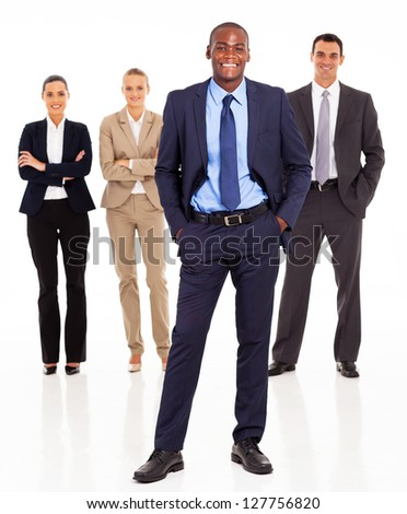 handsome african businessman and team full length on white - stock photo